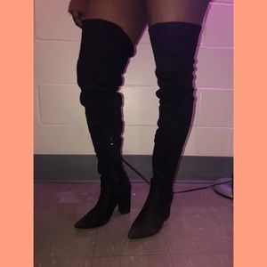 Black thigh high boots (condition: 7/10)
